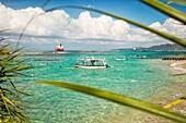 View of the Mendira Bay near Candidasa village. Manggis subdistrict, Karangasem regency, Bali, Indonesia.