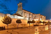 Monastery of Santa Clara at dusk- founded in 1337, Moguer, Huelva province, Region of Andalusia, Spain, Europe.