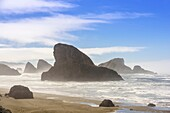 Oregon coastline with exposed rocks, Near Port Orford, Oregon, USA.