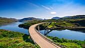 View of Kylesku Bridge on North Coast 500 tourist route in Sutherland, Highland, Scotland , UK.