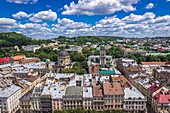 Aerial view from tower of Town Hall with Corpus Christi Dominican Church and Dormition Church also known as Wallachian Church in Lviv city, Ukraine.