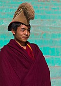 Tibetan monk from yellow hat sect in Bongya monastery, Qinghai province, Mosele, China.