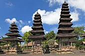 Shrines in the Holy Temple, Utama Mandala, in Pura Taman Ayun, the royal temple at Mengwi, Badung, Bali, Indonesia. This temple was was built in1634 during the reign of the first King of Mengwi, Ida Cokorda Sakti Blambangan.