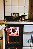 Stove lit with fire