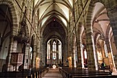 France, the picturesque city of Wissembourg in Alsace, on May 21, 2016. Indoor of the cathedral..