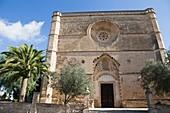 Church at Petra village in Majorca island Balearics Spain.
