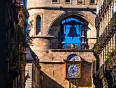 France, Aquitaine, Gironde. 'Grosse Cloche' on 'Porte Saint Eloï' gate at Bordeaux. Pilgrimage way to Santiago de Compostela.