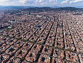 Aerial view of the quarter of 'L'Eixample' with the characteristic grid in Barcelona.