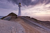 New Zealand, North Island, Castlepoint, Castlepoint Lighthouse, dawn.