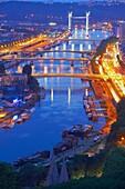 Rouen, Seine river, River Seine, Dusk, Haute Normandie, Seine Maritime Department, Normandy, France.