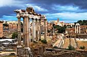 Temple of Saturn, Roman Forum, Rome, Lazio, Italy, Europe.