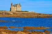 Turpault castle, Quiberon, Cote Sauvage, Wild Coast, Morbihan, Lorient District, Bretagne, Brittany, France.