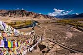 Stakna Monastery, Indus Valley, Ladakh, India, Asia. Prayer flags.