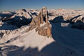Three Peak of Lavaredo. Misurina, Belluno province, Veneto region. Italy Europe.
