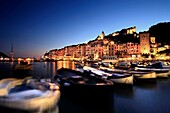 Panoramic view of Portovenere from the Port, Liguria, Italy.