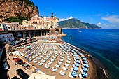 View of Atrani , small village inside Amalfi coast. Campania, Italy, Europe.