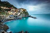 Long exposure of Manarola, Cinque Terre, Riviera di Levante, Liguria, Italy.