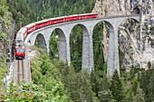Glacier Express & Landwasser Viaduct, Filisur, Graubunden, Switzerland.