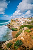 Azenhas do Mar, Colares, Sintra, Lisbon district, Portugal. Iconic view over the village on the cliff.