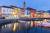 Blu hour at Ascona port, Lago Maggiore, Canton Ticino, Switzerland.