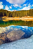 Carezza lake, Dolomites, Italy. A jewel in the Dolomites, Latemar group.
