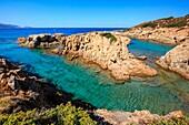 Corse, cove from the Ostriconi beach on Corse, Balagne, France.