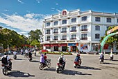 Street traffic at the Saigon Morin Hotel. Hue, Vietnam.