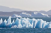 Icebergs drifting in the fjords of southern greenland. America, North America, Greenland, Denmark.