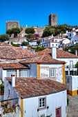 City Overview with Medieval Castle (background), Obidos, UNESCO World Heritage Site, Portugal