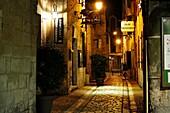 Rue du Conseil at night, Perigueux, Dordogne Department, Aquitaine, France.