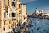 Buildings and boats along the Grand Canal with the domes of Santa Maria della Salute beyond, Venice, Veneto, Italy.