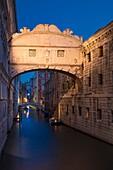 Early morning twilight over Ponte dei Sospiri - Bridge of Sighs, Venice, Veneto, Italy.