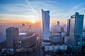 Warsaw, Poland. Aerial view with Golden Terraces shopping mall, Zlota 44 skyscraper, Warsaw Towers and InterContinental Hotel.