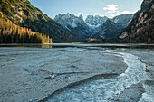 Autumn afternoon at lago di Landro (Durrensee), South Tyrol, Italy.