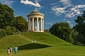 Visitors at the Monopteros in the Englischer Garten, Munich, Upper Bavaria, Germany