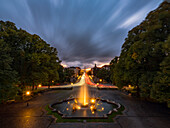View over the fountain at Friedensengel and Prinzregentenstrasse in the direction of the inner city, Munich, Upper Bavaria, Bavaria, Germany