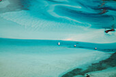 EXUMA, Bahamas. A view from a plane of the waters around the Exuma Islands.