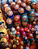RUSSIA, Moscow, top view of Matryoshka dolls display in retail, close-up