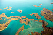 BELIZE, aerial view of the coast and mangroves near Punta Gorda