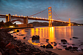 USA, California, San Francisco, NOPA, Fort Point, Chrissy Fields, The Golden Gate Bridge at dusk looking towards the Marin Headlands