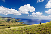 EASTER ISLAND, CHILE, Isla de Pascua, Rapa Nui, the breathtaking scenery viewed while hiking around Poike, the oldest volcano on the Island