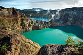 INDONESIA, Flores, the highest viewpoint in Kelimutu National Park and volcano, with views of Tiwu Nuwa Muri Koo Fai and Tiwu Ata Polo volcanic lakes