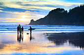 USA, Oregon, Oswald West State Park, surfers walk along the beach and out into the water at Oswald State Park, just south of Cannon Beach