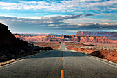 USA, Utah, Hwy 163 driving Southwest towards Goosenecks National Park and Mexican Hat