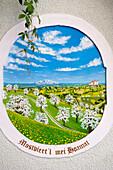 fancywork, ornament, front painted in vivid colors, farm, Austria, Europe