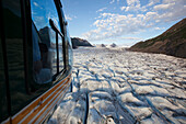 Aerial View Of A Helicopter Over Grewingk Glacier, Kachemak Bay State Park, Southcentral Alaska, USA