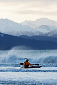Kayaker Entering Kachemak Bay Near Homer, Southcentral Alaska, USA