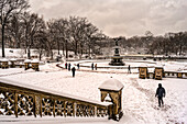 Snow-Covered Bethesda Fountain, Central Park; New York City, New York, United States Of America