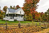 19th Century Farmhouse In Autumn; Dunham, Quebec, Canada