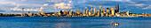 Panorama Of The Skyline Of Seattle Along The Coastline; Seattle, Washington, United States Of America